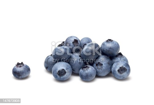 Bunch of blueberries on a white background