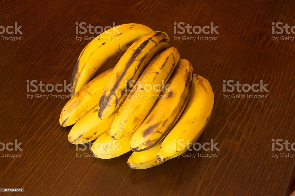 Bunch of canary bananas stock photo