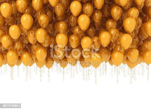 815229514 istock photo Bunch of celebration orange balloons 697978854