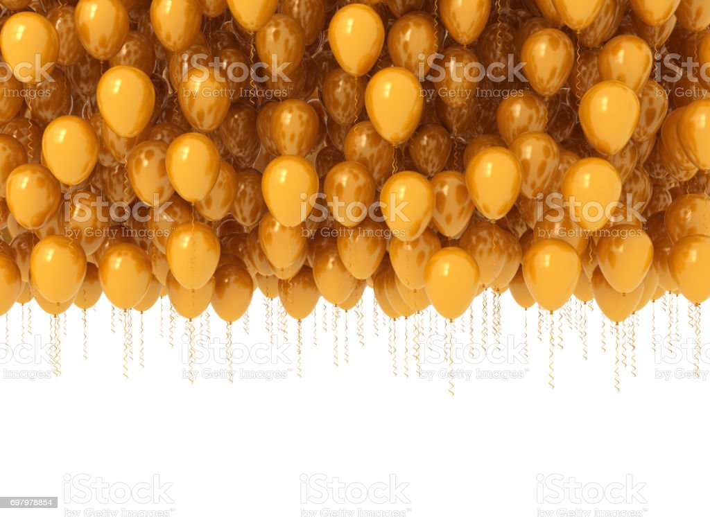 Bunch of celebration orange balloons stock photo
