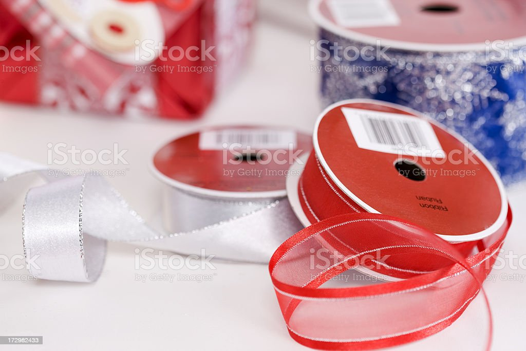 Bunch of Christmas Wrapping Ribbon with Present, Copy Space stock photo