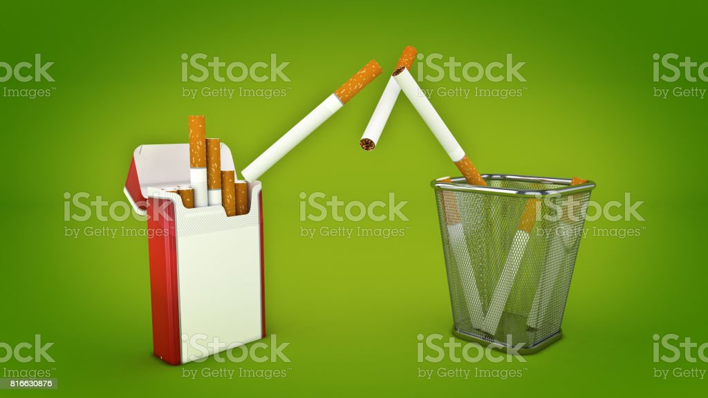 Bunch of cigarettes in the trash bin. Quit smoking concept. 3d rendering stock photo