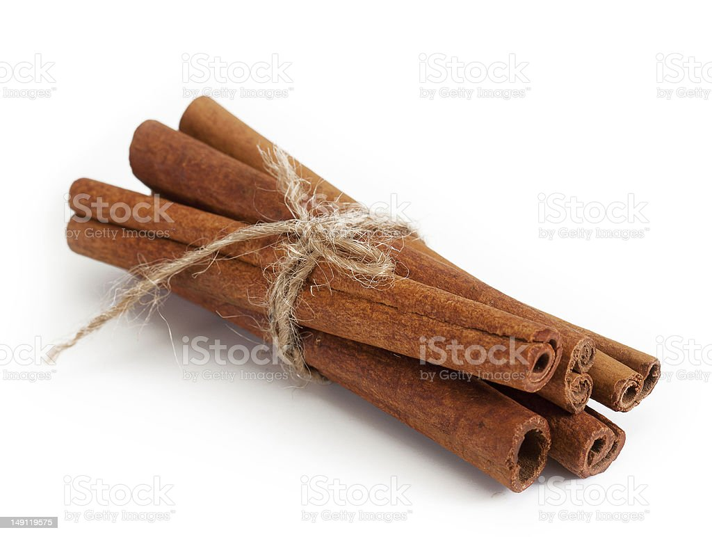 Bunch of cinnamon sticks tied with rope stock photo