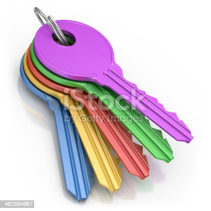 3d render.  Colored keys  isolated on white background