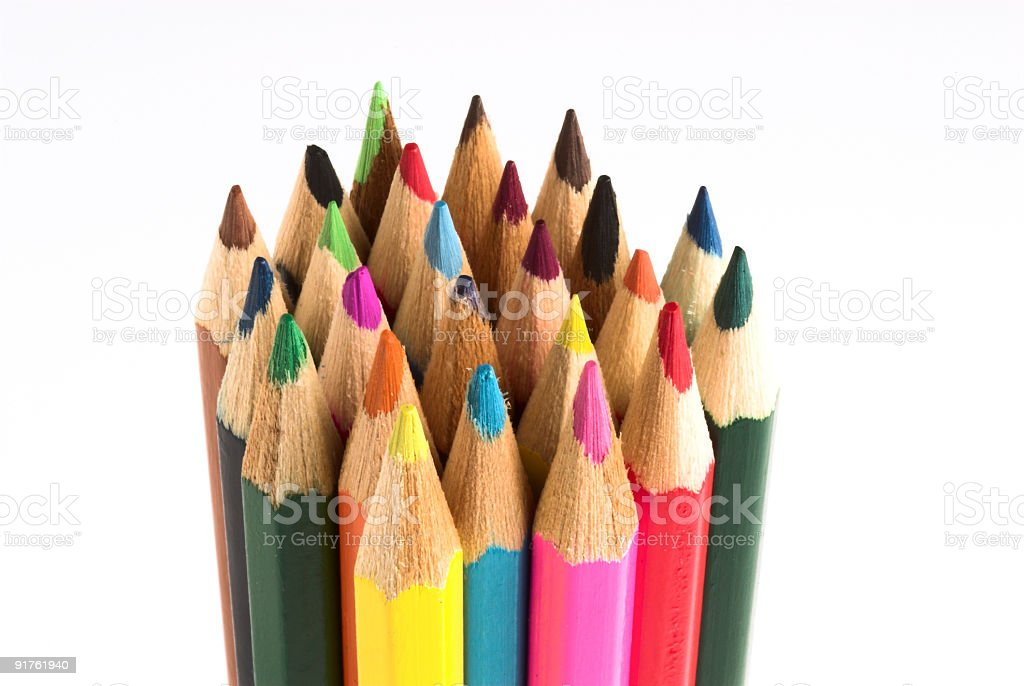Bunch of colored pencils stock photo
