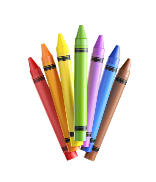 Bunch of Colorful Crayons on White Background stock photo