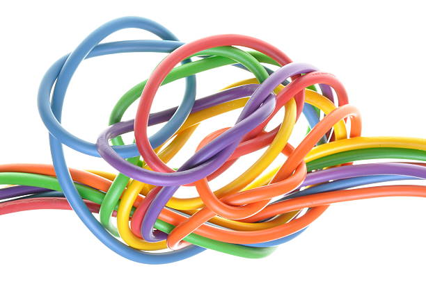 bunch of colorful electrical cables - tangled stock photos and pictures