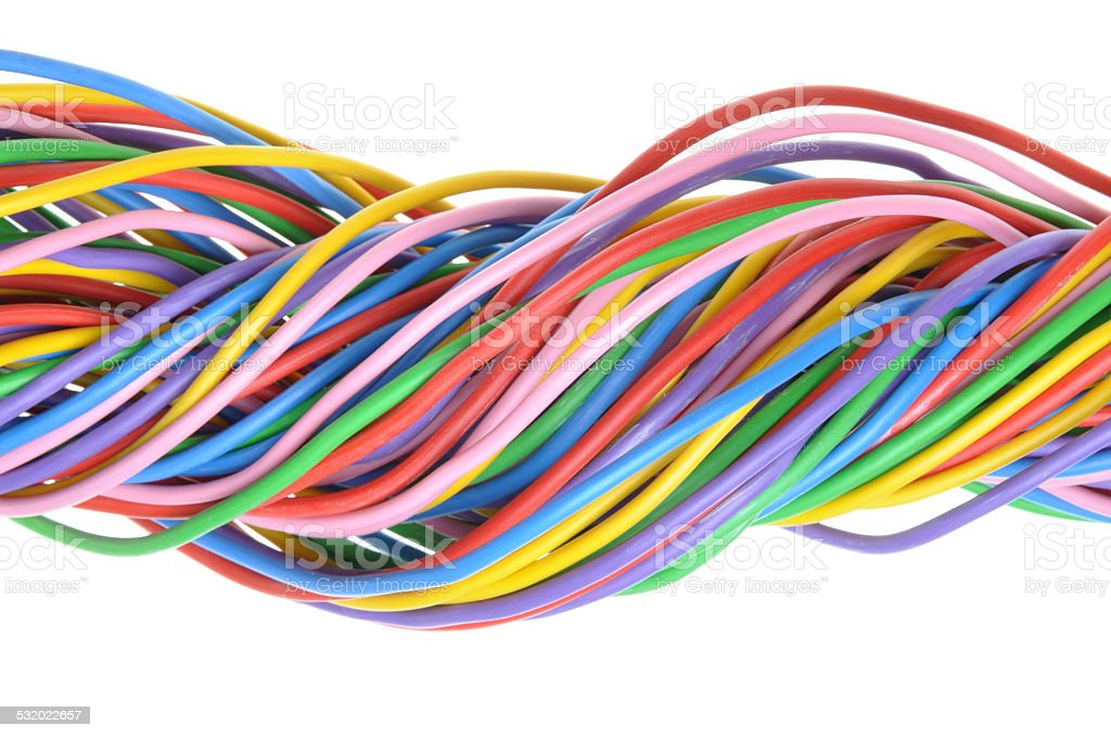 Bunch of colorful electrical cables stock photo