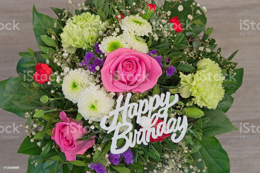 Mazzo Di Fiori Buon Compleanno.Bunch Of Colorful Flowers Flower Bouquet With Text Happy Birthday