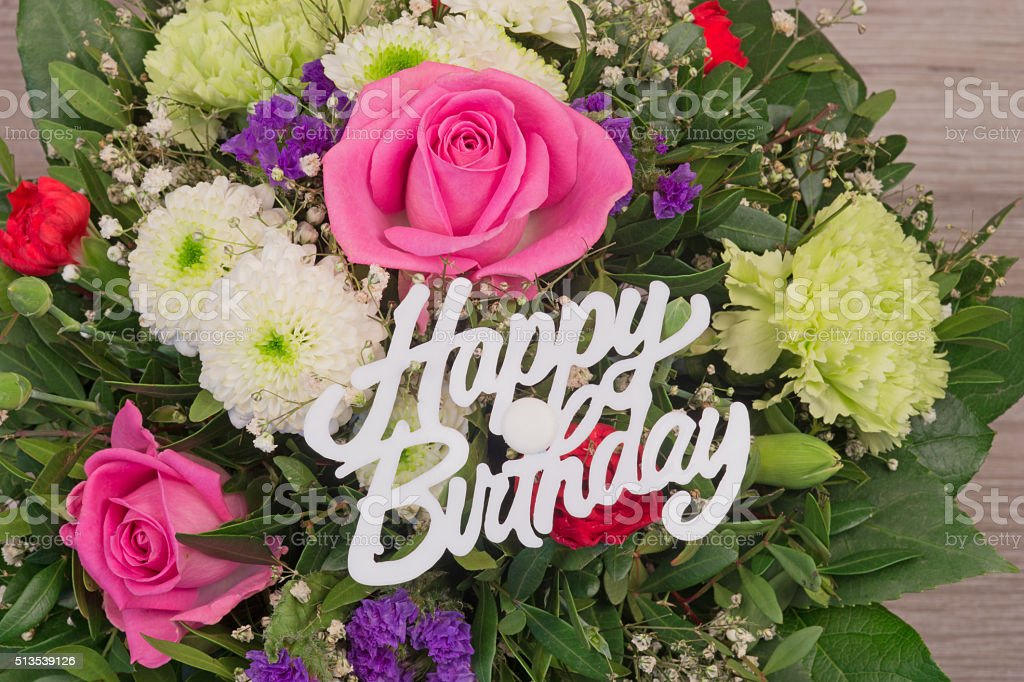 Mazzo Di Fiori Happy Birthday.Bunch Of Colorful Flowers Flower Bouquet With Text Happy Birthday