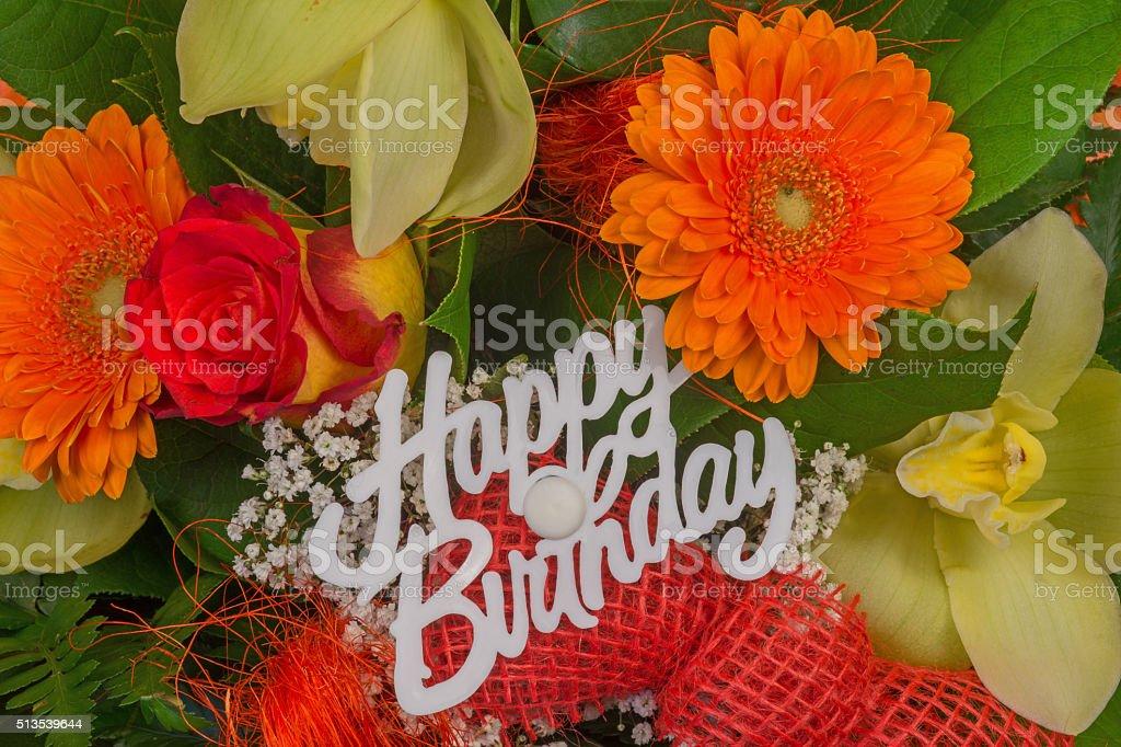Photo Libre De Droit De Un Bouquet De Fleurs Colorées Bouquet De Fleurs Avec Texte Joyeux Anniversaire Banque Dimages Et Plus Dimages Libres De