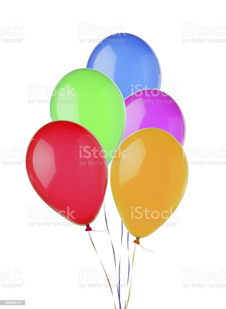 bunch of colorful flying balloons isolated on white royalty-free stock photo