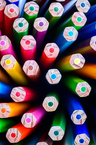 Close up macro shot of colorful pencils