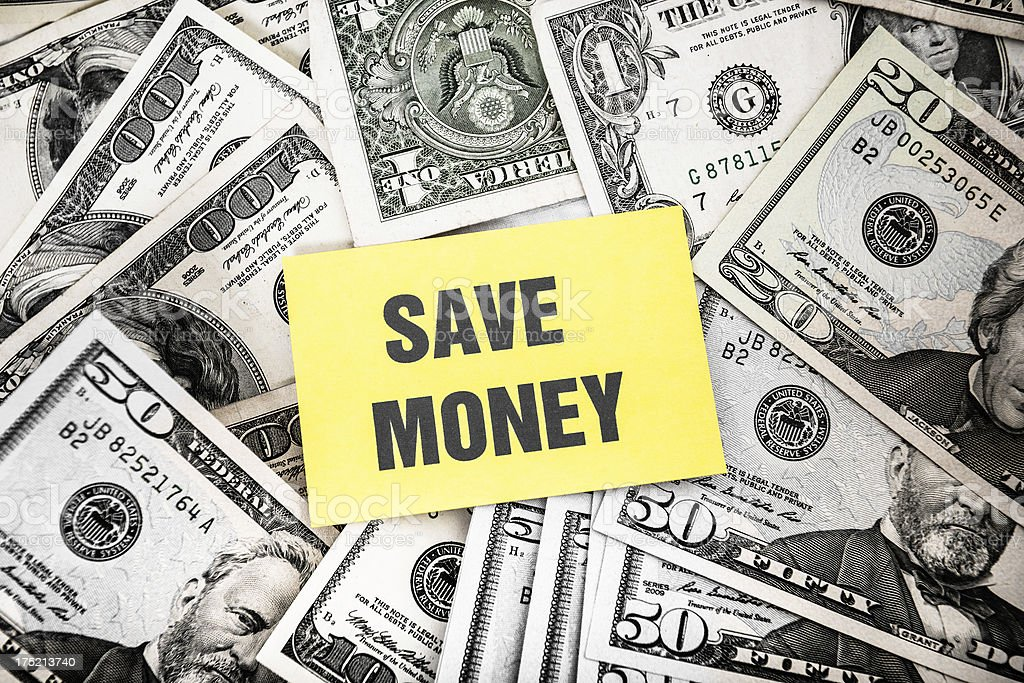 Bunch of dollars with 'save money' greetings card royalty-free stock photo