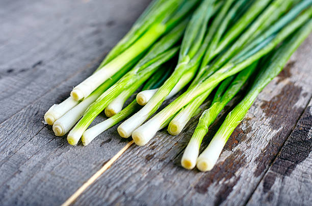 Bunch of fresh green onions stock photo