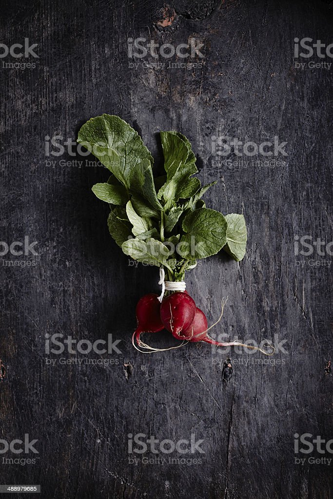 Bunch of fresh organic radishes stock photo