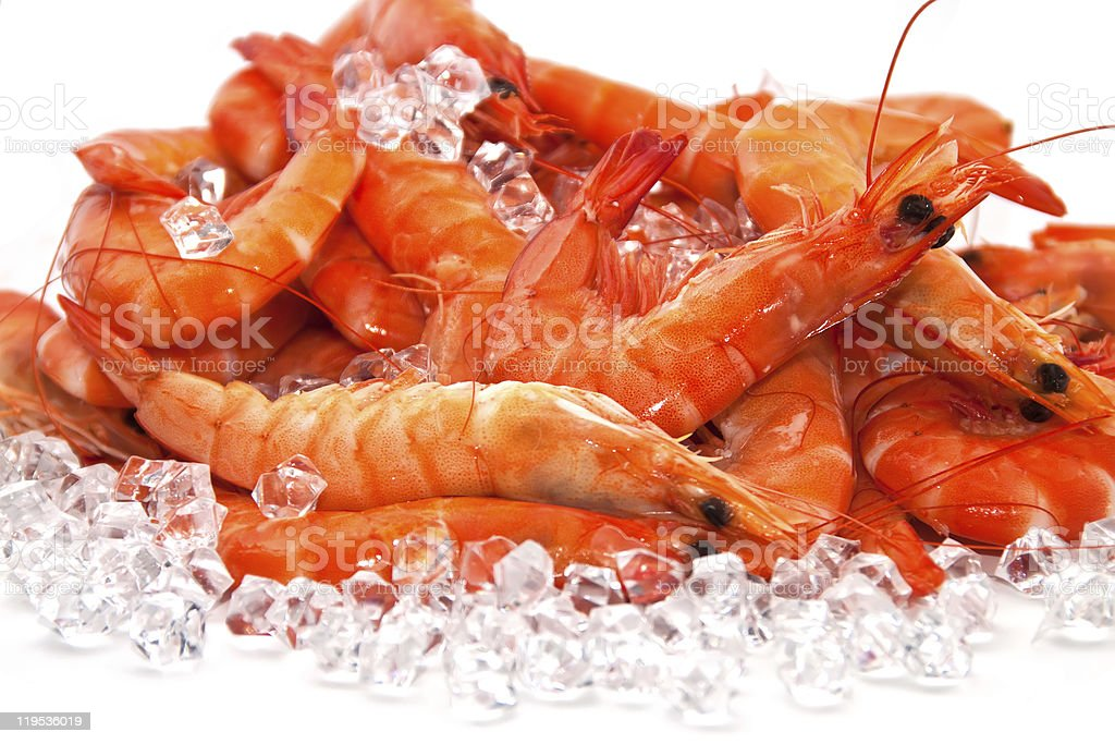 A bunch of fresh prawns chilled on ice stock photo