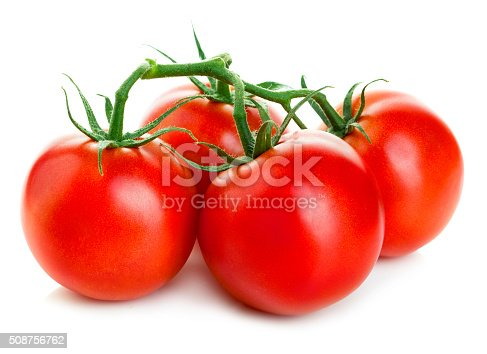 istock Bunch of fresh red tomatoes isolated on white background. 508756762