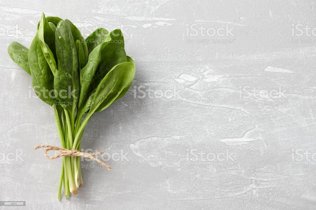 Bunch of fresh spinach leaves stock photo