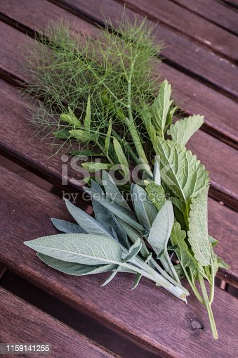 Bunch of Fresh Spring Herbs on Wooden Background