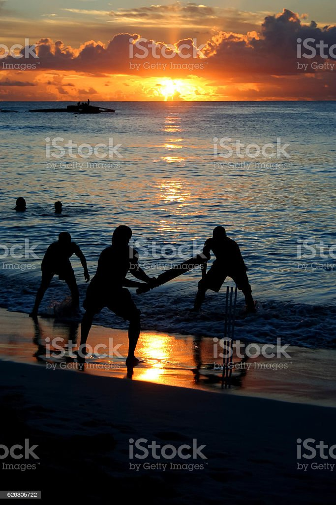 Bunch of friends playing cricket at the beach stock photo