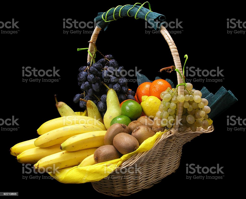 Bunch of fruit on black background royalty-free stock photo