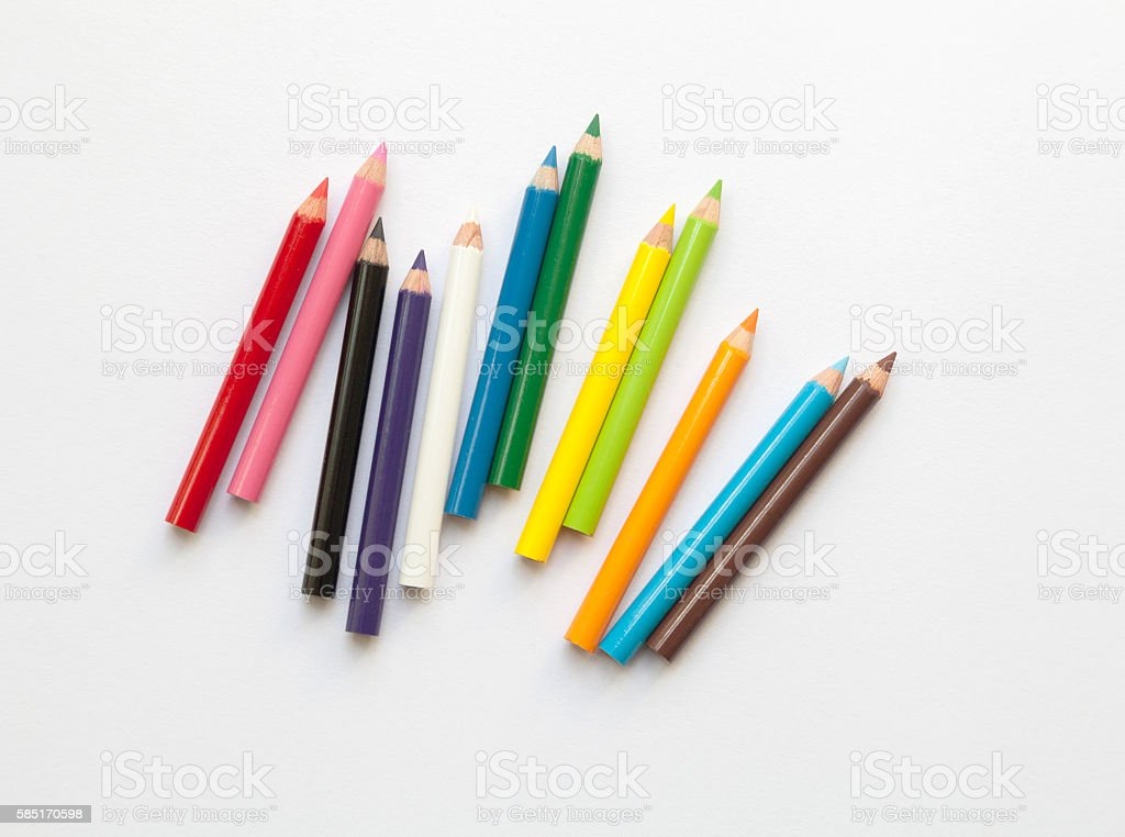 Bunch of fun mini colored pencils isolated on white stock photo