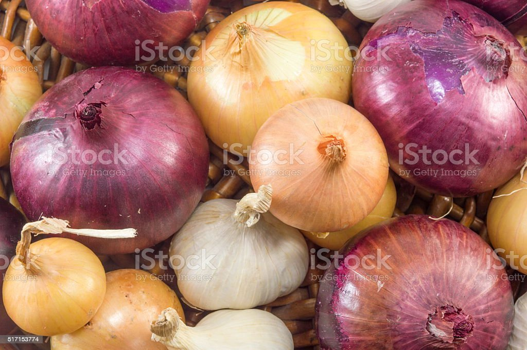 Bunch of garlic and onions stock photo