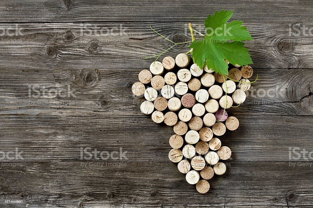 Bunch of grapes shape made with corks stock photo