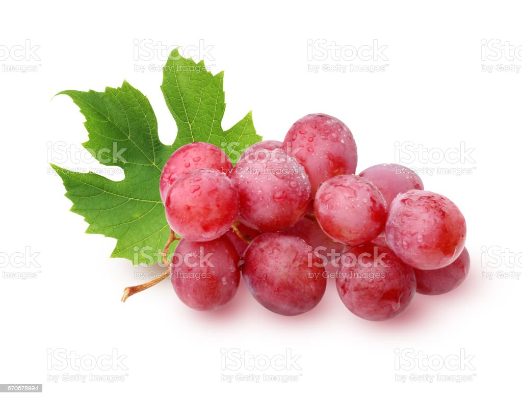 bunch of grapes with leaves isolated on a white background. stock photo