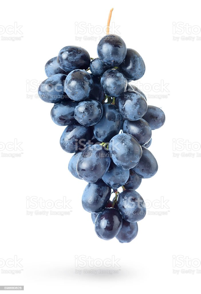 Bunch of grapes with water drops, isolated on white background stock photo