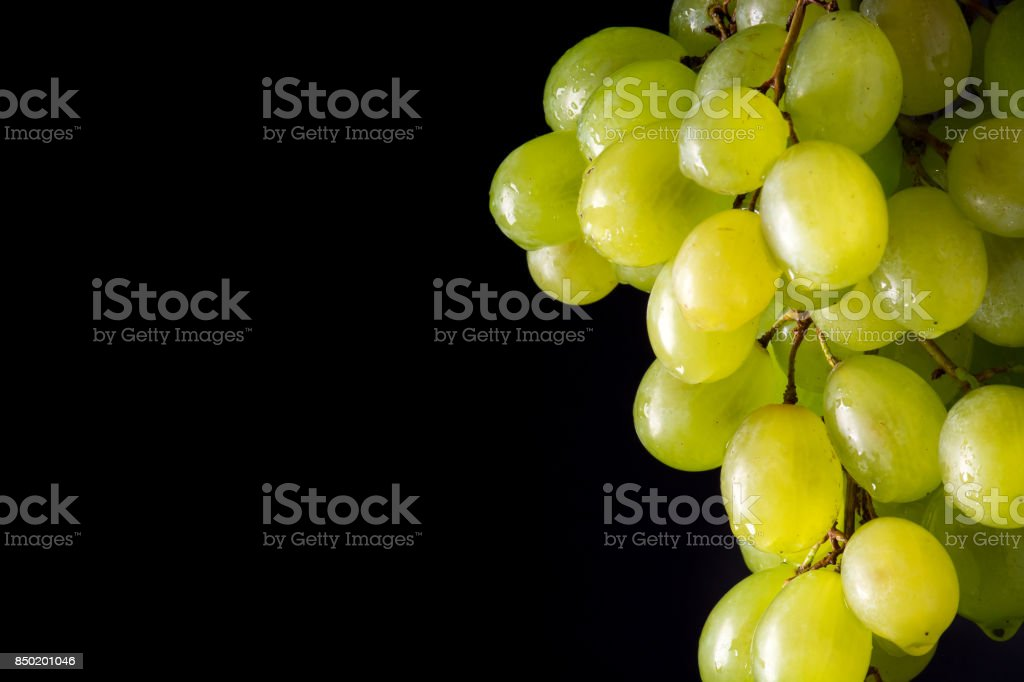bunch of green grapes on a black background stock photo
