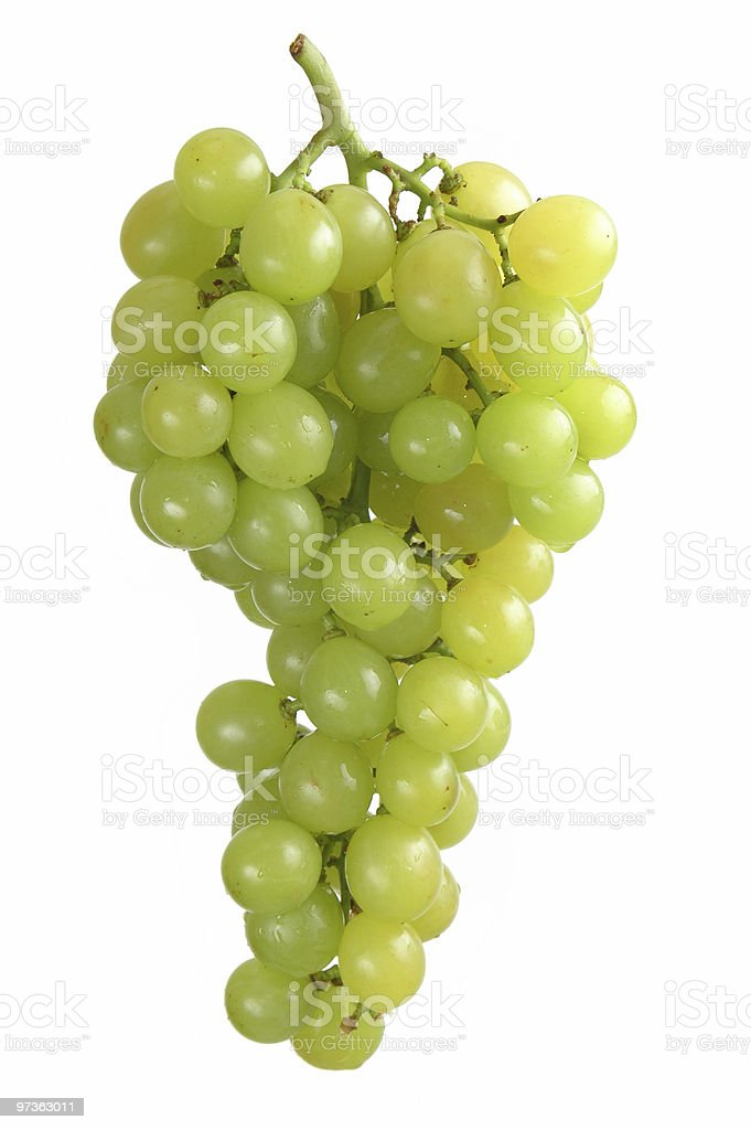 A bunch of green grapes on a white background royalty-free stock photo