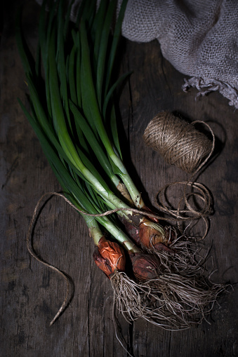A Bunch Of Green Onions With A Root On A Wooden Background Stock Photo - Download Image Now