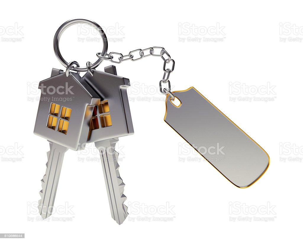 Bunch of house-shape keys with blank label stock photo