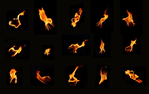 A bunch of icons of fire on a black background