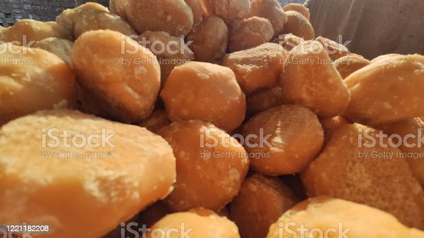Bunch Of Jaggery Food Sweet Candies At Production Plant Stock Photo - Download Image Now