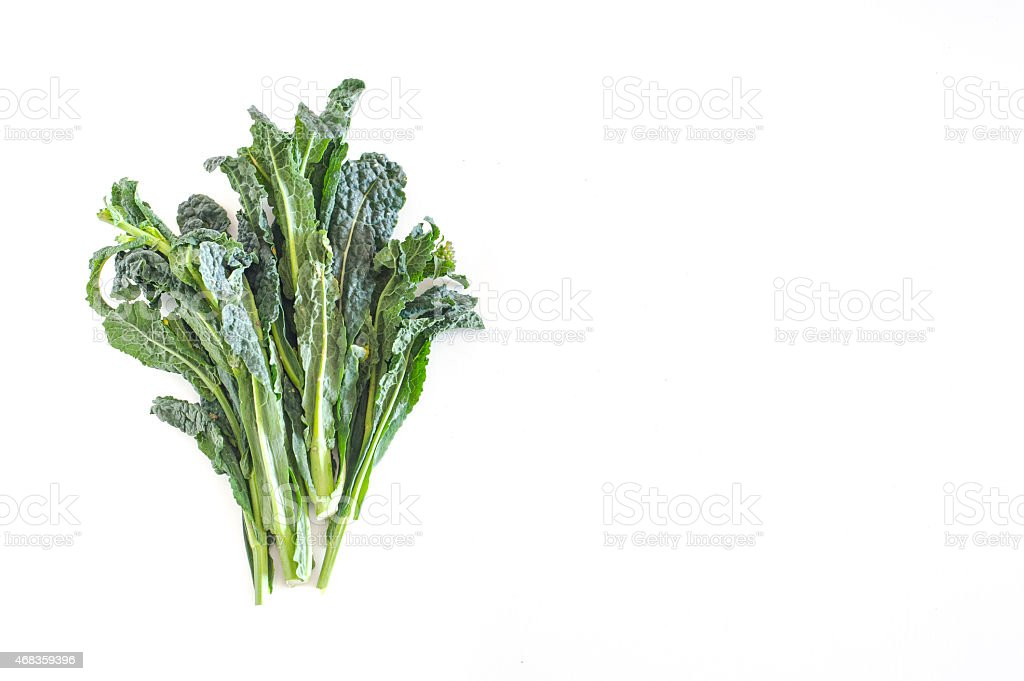 Bunch of kale on white background with empty copyspace royalty-free stock photo