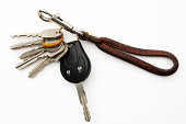 Bunch of keys with leather key ring on white background