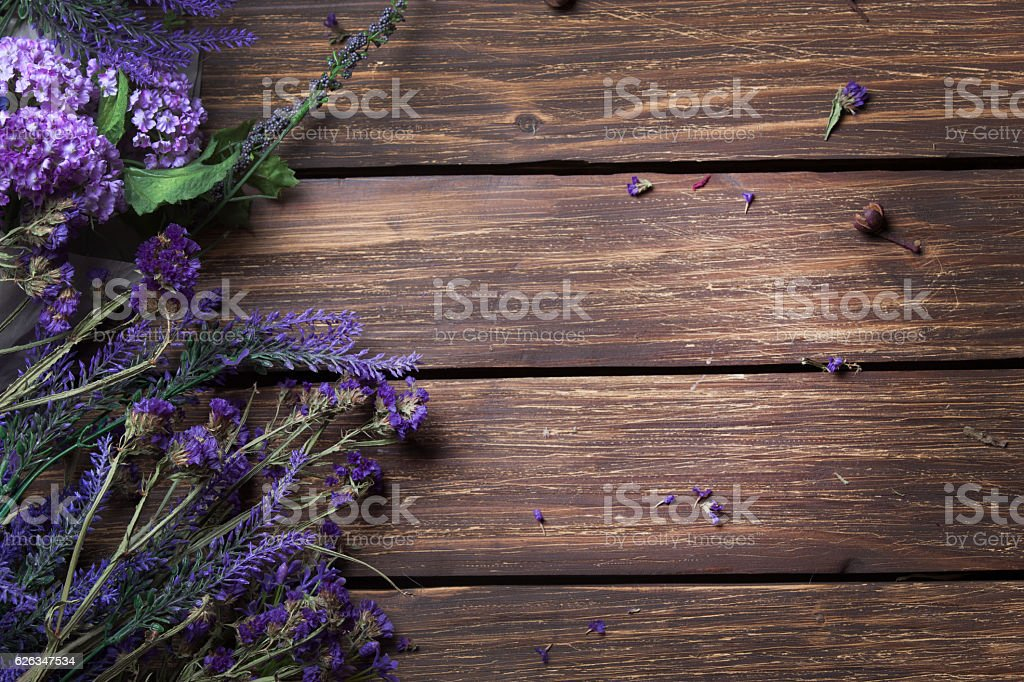 bunch of lavender lying on the table stock photo