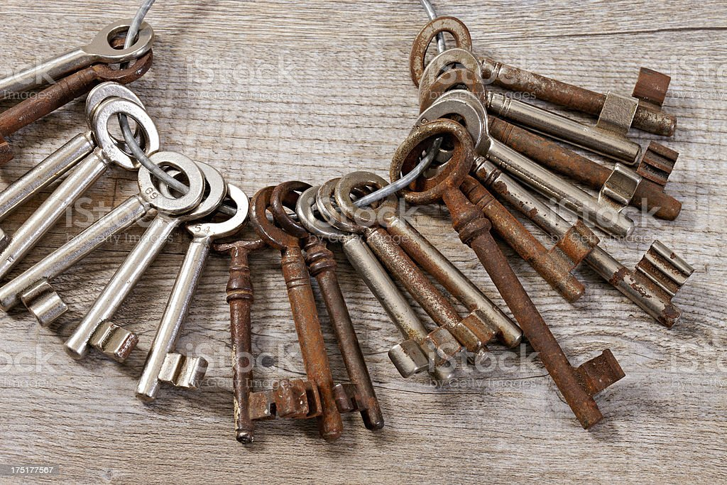 Bunch of many old used keys royalty-free stock photo