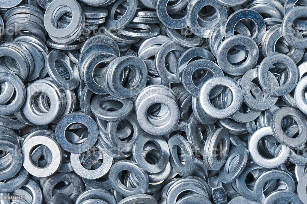 Bunch of metal washers stock photo