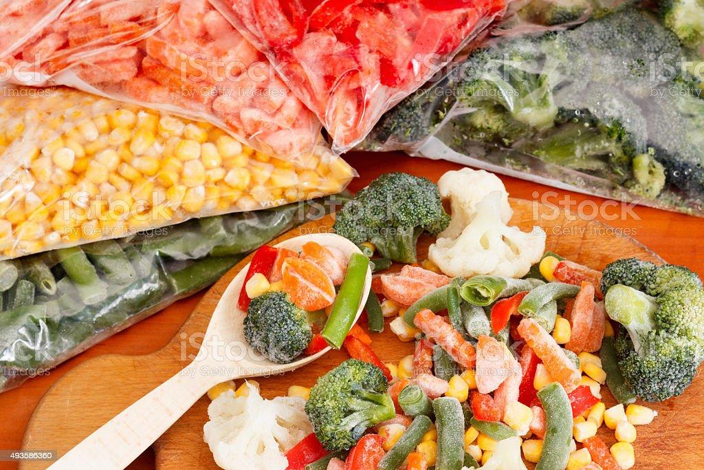 Bunch of mixed frozen vegetables stock photo
