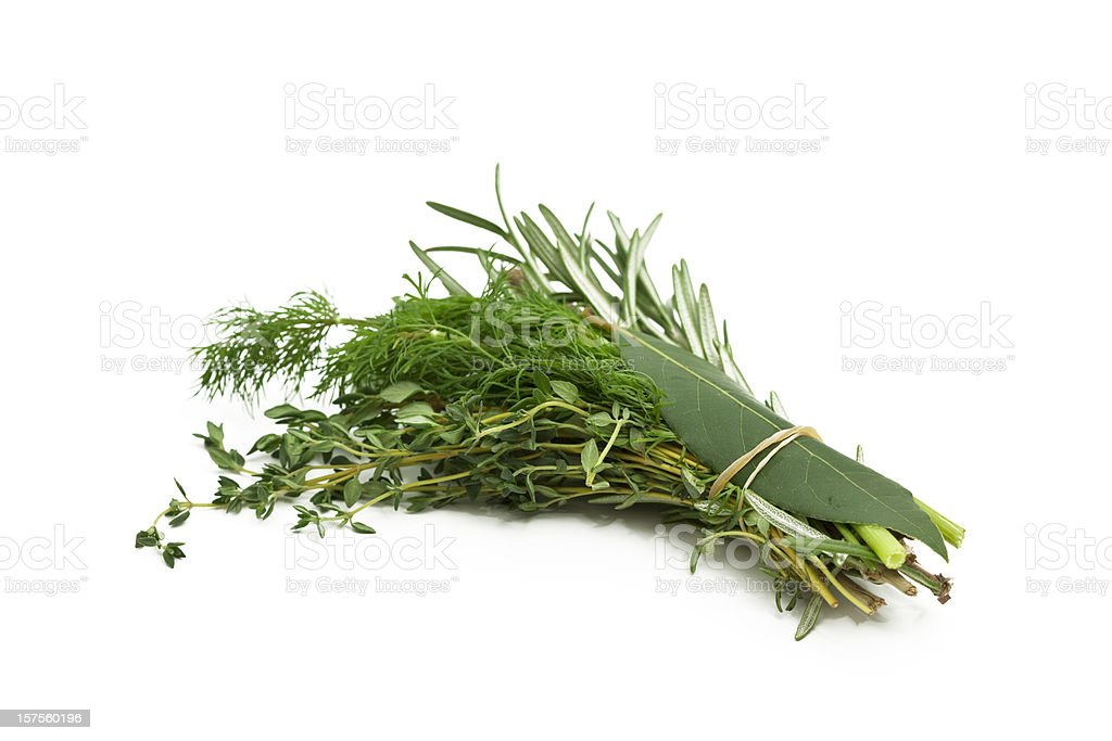 bunch of mixed herbs stock photo