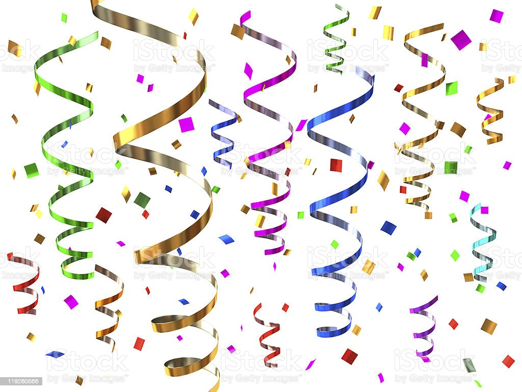 A bunch of multicolored streamers stock photo