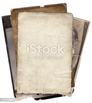 istock Bunch of old photos background 519438643