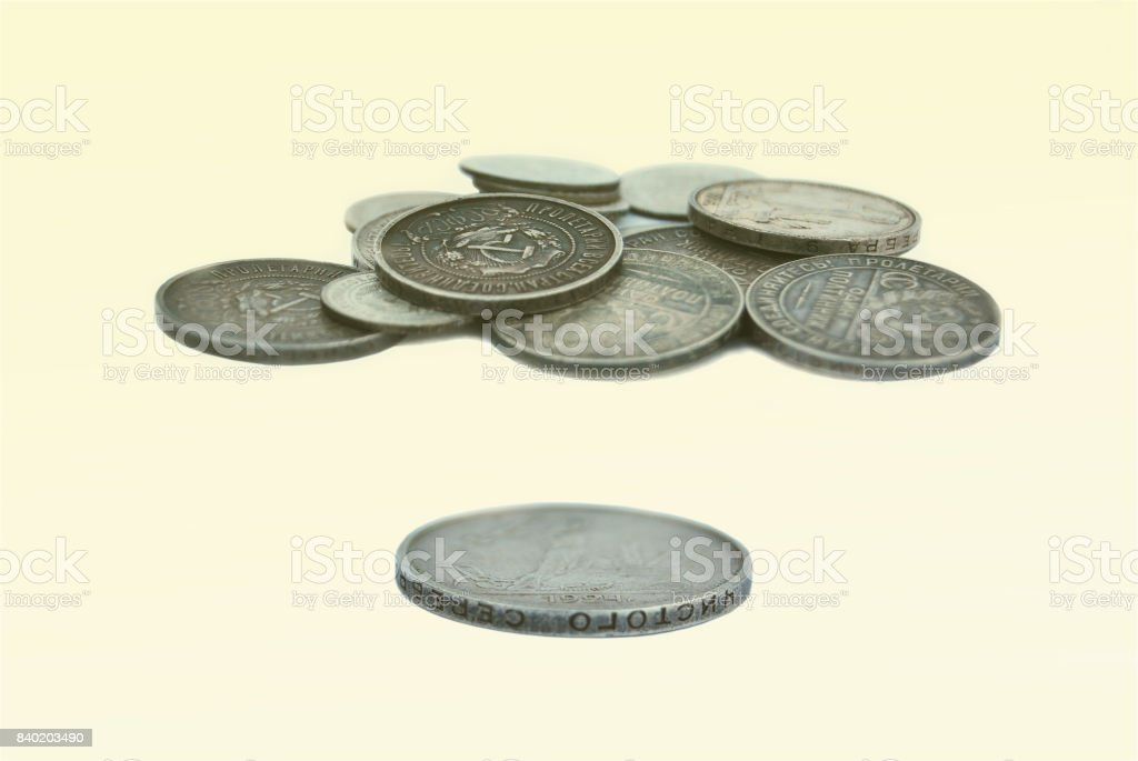 A bunch of old Russian coins of silver stock photo