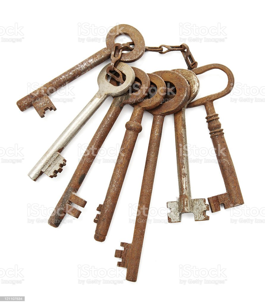 Bunch of old rusty keys royalty-free stock photo