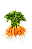A bunch of organic carrots on a white background