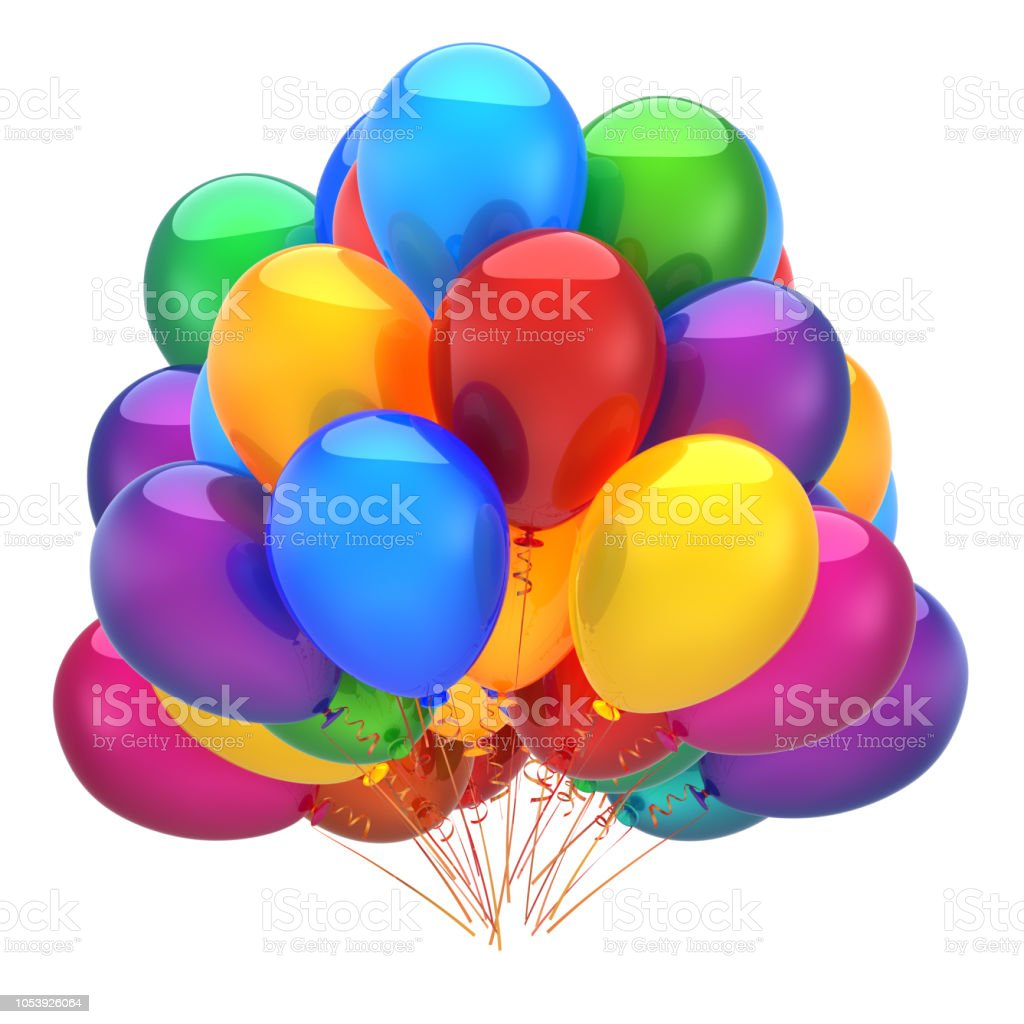 Bunch Of Party Helium Balloons Colorful Happy Birthday Decoration